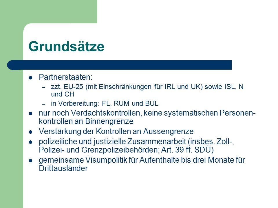 Grundsätze Partnerstaaten: – zzt. EU-25 (mit Einschränkungen für IRL und UK) sowie ISL, N und CH – in Vorbereitung: FL, RUM und BUL nur noch Verdachts