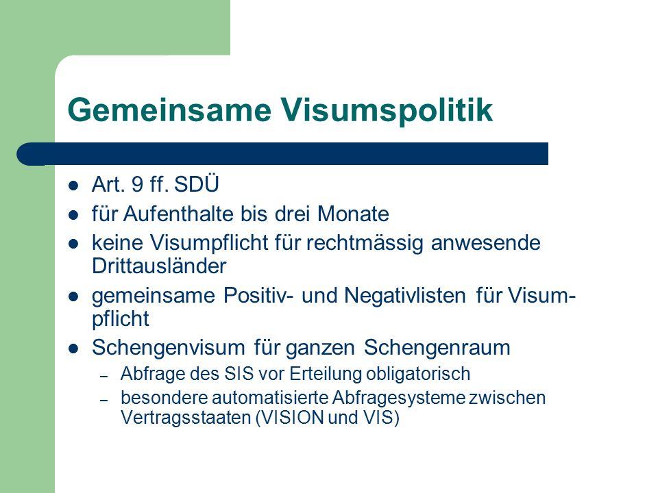 Gemeinsame Visumspolitik Art. 9 ff. SDÜ für Aufenthalte bis drei Monate keine Visumpflicht für rechtmässig anwesende Drittausländer gemeinsame Positiv