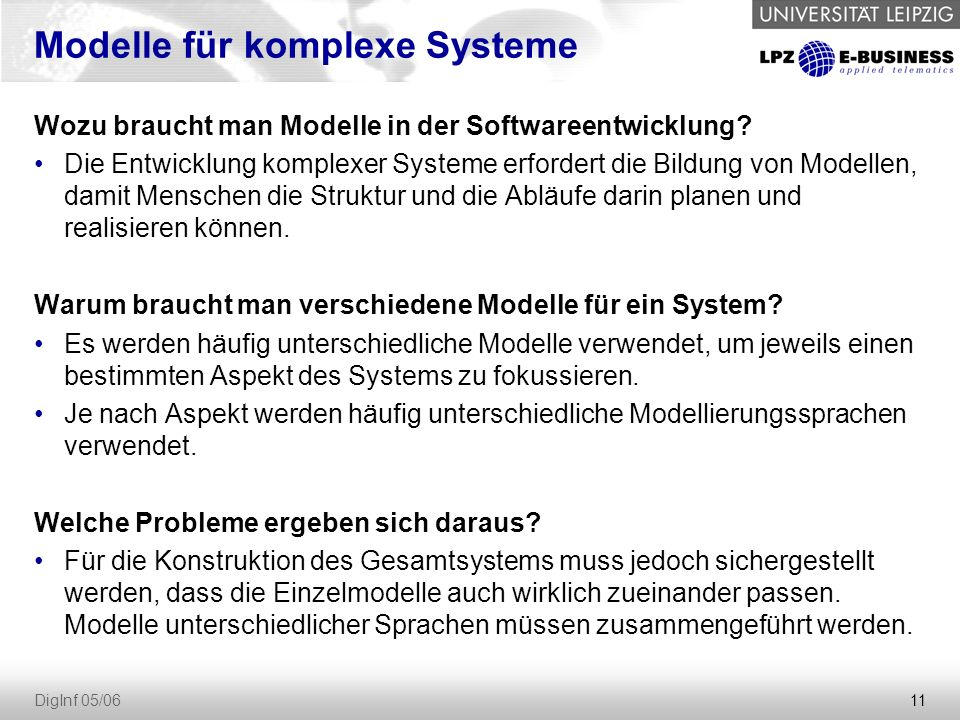 11 DigInf 05/06 Modelle für komplexe Systeme Wozu braucht man Modelle in der Softwareentwicklung.