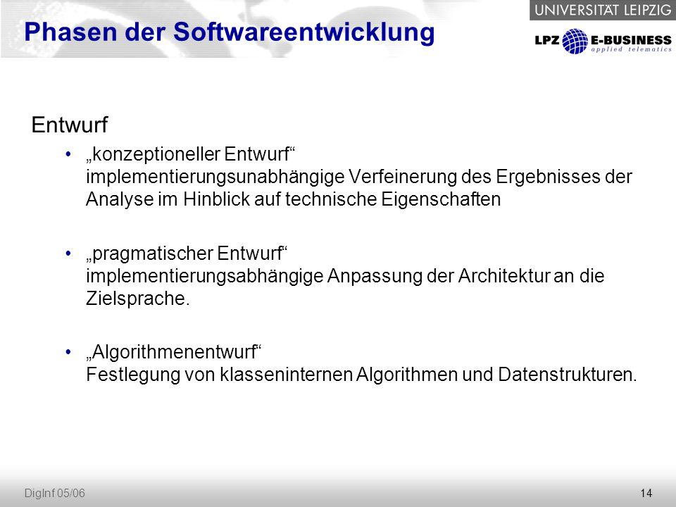 """14 DigInf 05/06 Entwurf """"konzeptioneller Entwurf implementierungsunabhängige Verfeinerung des Ergebnisses der Analyse im Hinblick auf technische Eigenschaften """"pragmatischer Entwurf implementierungsabhängige Anpassung der Architektur an die Zielsprache."""