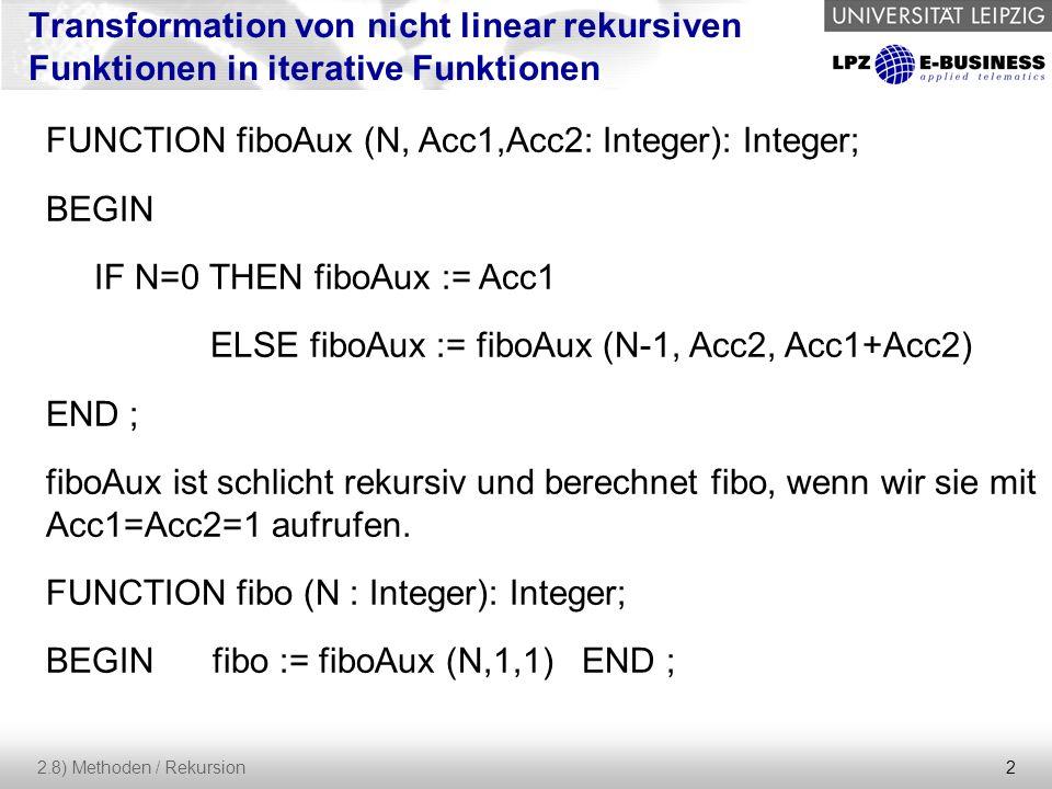 2 2.8) Methoden / Rekursion Transformation von nicht linear rekursiven Funktionen in iterative Funktionen FUNCTION fiboAux (N, Acc1,Acc2: Integer): Integer; BEGIN IF N=0 THEN fiboAux := Acc1 ELSE fiboAux := fiboAux (N-1, Acc2, Acc1+Acc2) END ; fiboAux ist schlicht rekursiv und berechnet fibo, wenn wir sie mit Acc1=Acc2=1 aufrufen.