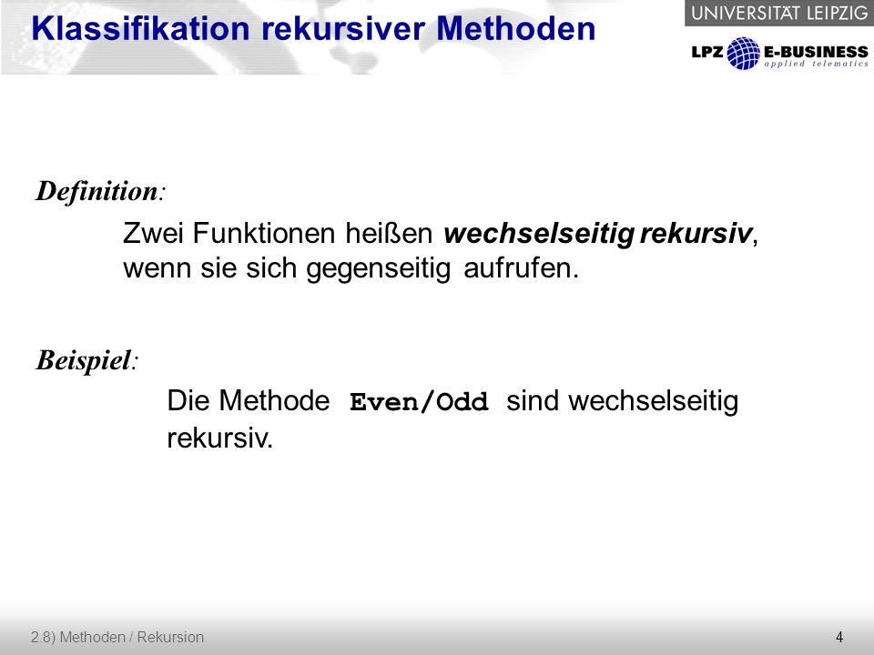 15 2.8) Methoden / Rekursion Entwurf Der Software-Entwurf wird oft auch als die Software-Architektur bezeichnet.