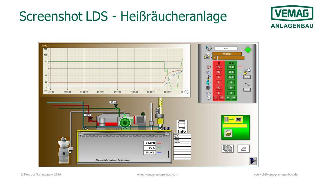 © Product Management 2016www.vemag-anlagenbau.comvertrieb@vemag-anlagenbau.de Screenshot LDS - Heißräucheranlage