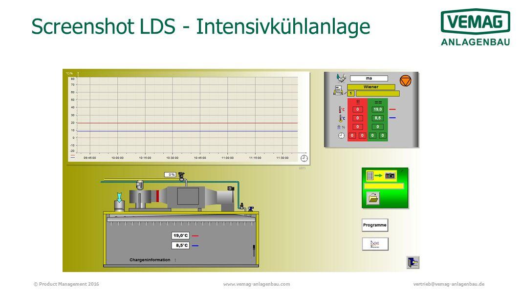 © Product Management 2016www.vemag-anlagenbau.comvertrieb@vemag-anlagenbau.de Screenshot LDS - Intensivkühlanlage