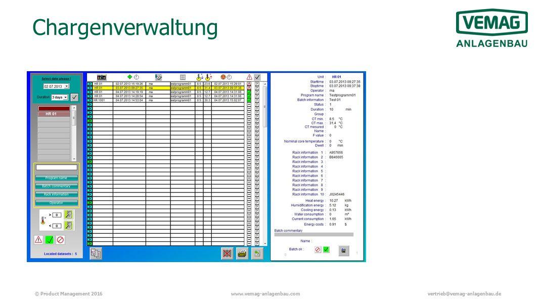 © Product Management 2016www.vemag-anlagenbau.comvertrieb@vemag-anlagenbau.de Chargenverwaltung