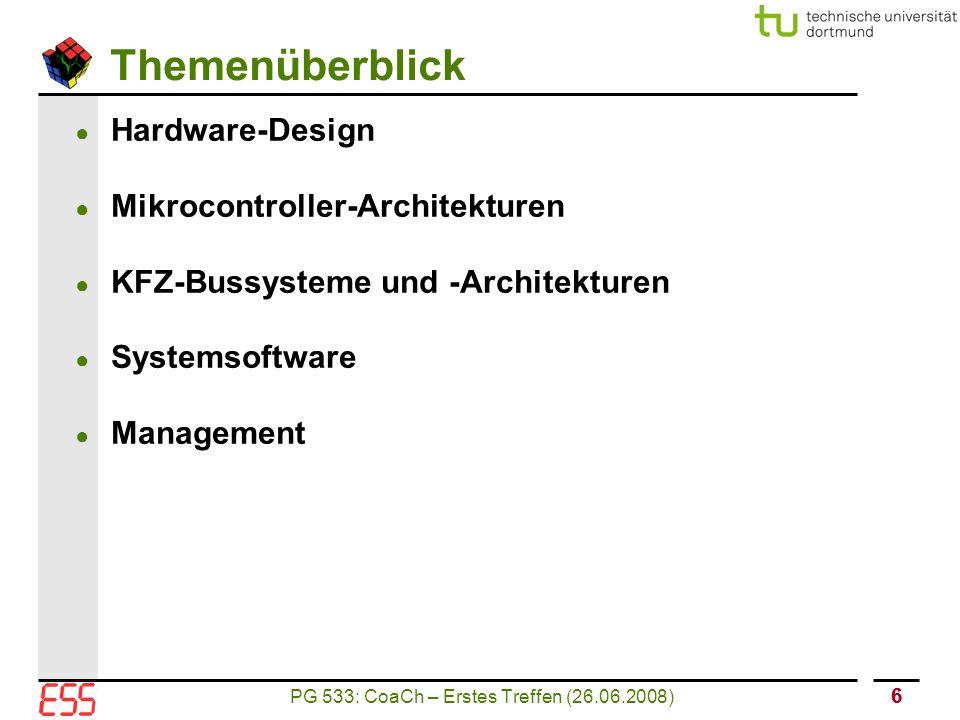 PG 533: CoaCh – Erstes Treffen (26.06.2008) 66 Themenüberblick ● Hardware-Design ● Mikrocontroller-Architekturen ● KFZ-Bussysteme und -Architekturen ● Systemsoftware ● Management