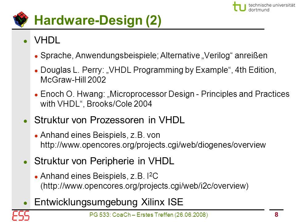 PG 533: CoaCh – Erstes Treffen (26.06.2008) 99 Mikrocontrollerarchitekturen (1) ● Intel 8051 ● Uralt ;-) ● Allgemein: http://www.atmel.com/products/8051/default.asp, http://www.intel.com/design/mcs51/http://www.atmel.com/products/8051/default.asp http://www.intel.com/design/mcs51/ ● Enhanced 8-bit MCU with CAN Controller and Flash Memory (http://www.atmel.com/dyn/resources/prod_documents/doc4182.pdf)http://www.atmel.com/dyn/resources/prod_documents/doc4182.pdf ● J.