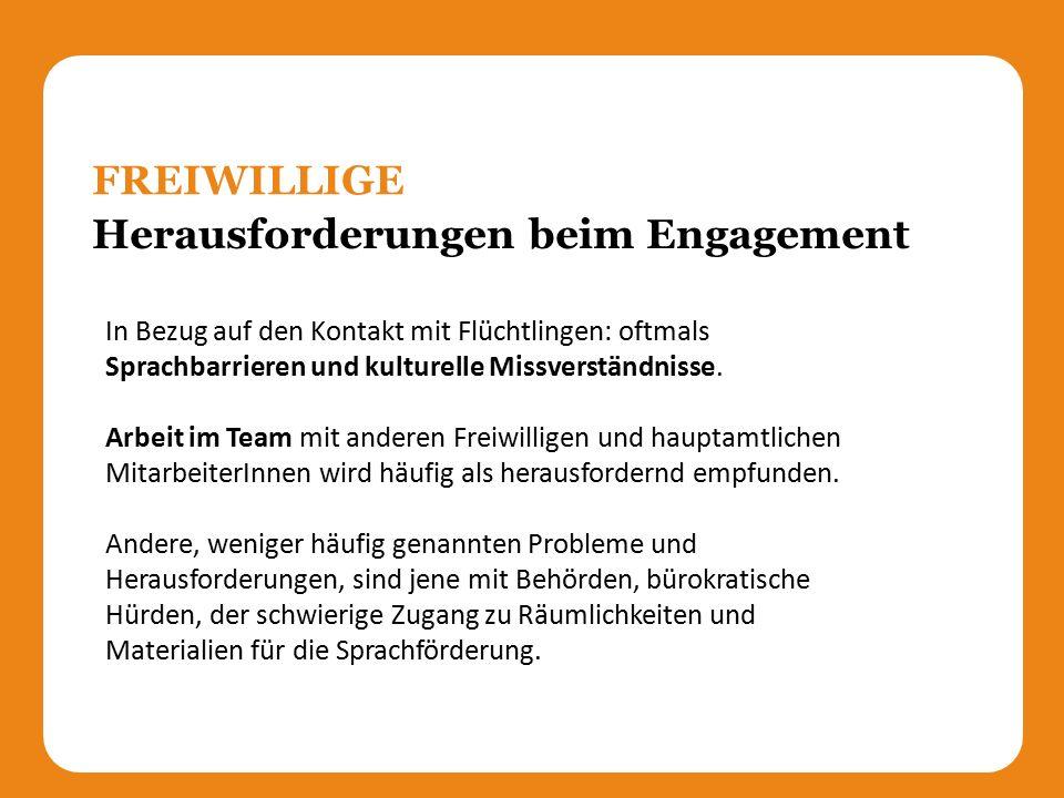 Herausforderungen beim Engagement FREIWILLIGE In Bezug auf den Kontakt mit Flüchtlingen: oftmals Sprachbarrieren und kulturelle Missverständnisse.