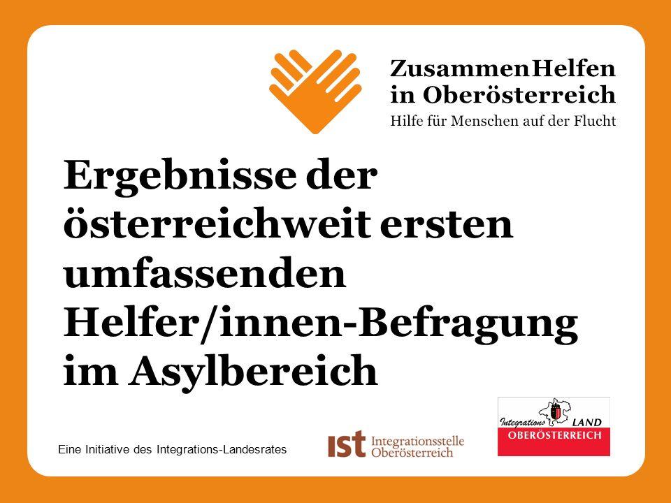 Eine Initiative des Integrations-Landesrates Ergebnisse der österreichweit ersten umfassenden Helfer/innen-Befragung im Asylbereich