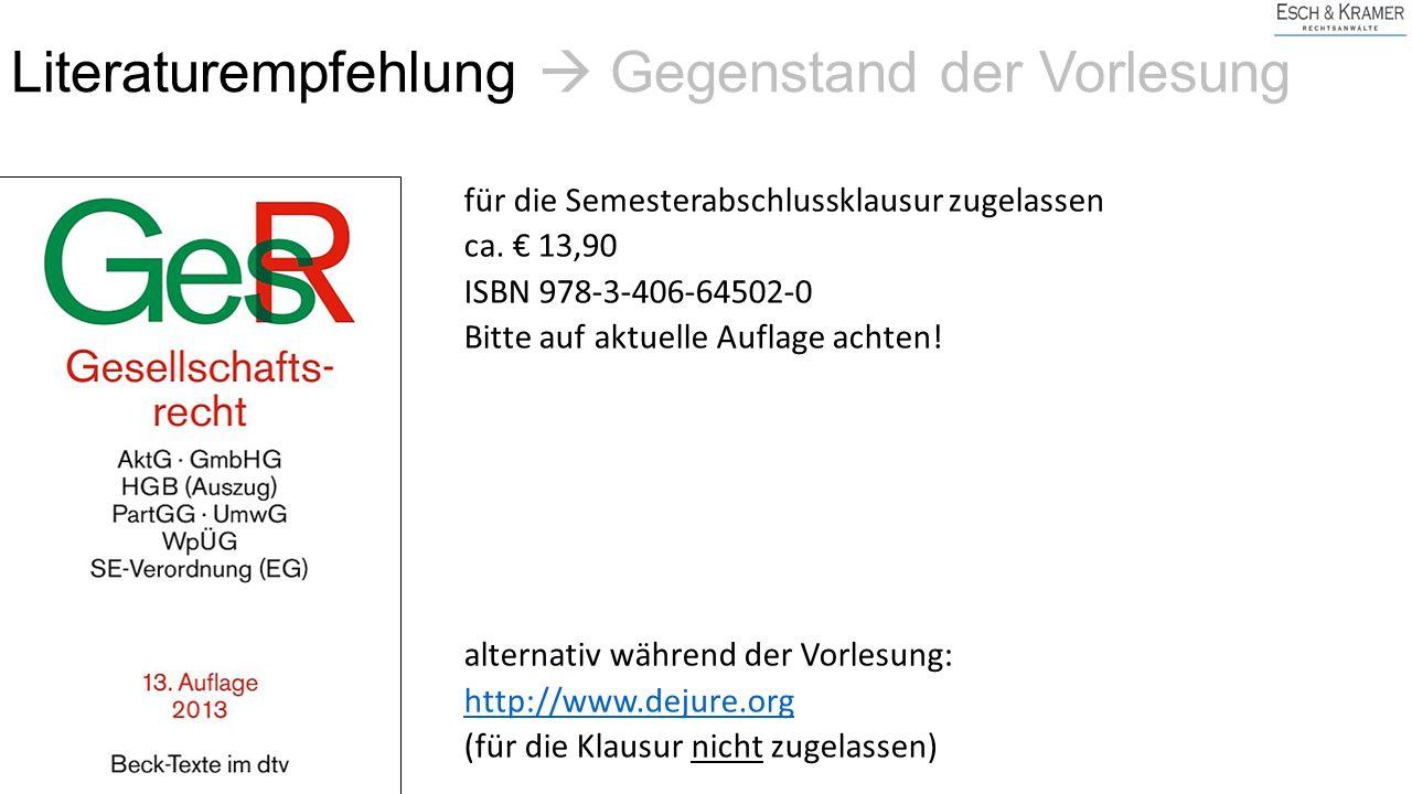 I.Personengesellschaften GbR OHG KG PartGG Reederei Stille Gesellschaft II.