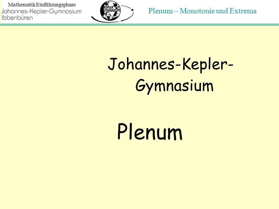 Plenum – Monotonie und Extrema Mathematik Einführungsphase Johannes-Kepler- Gymnasium Plenum