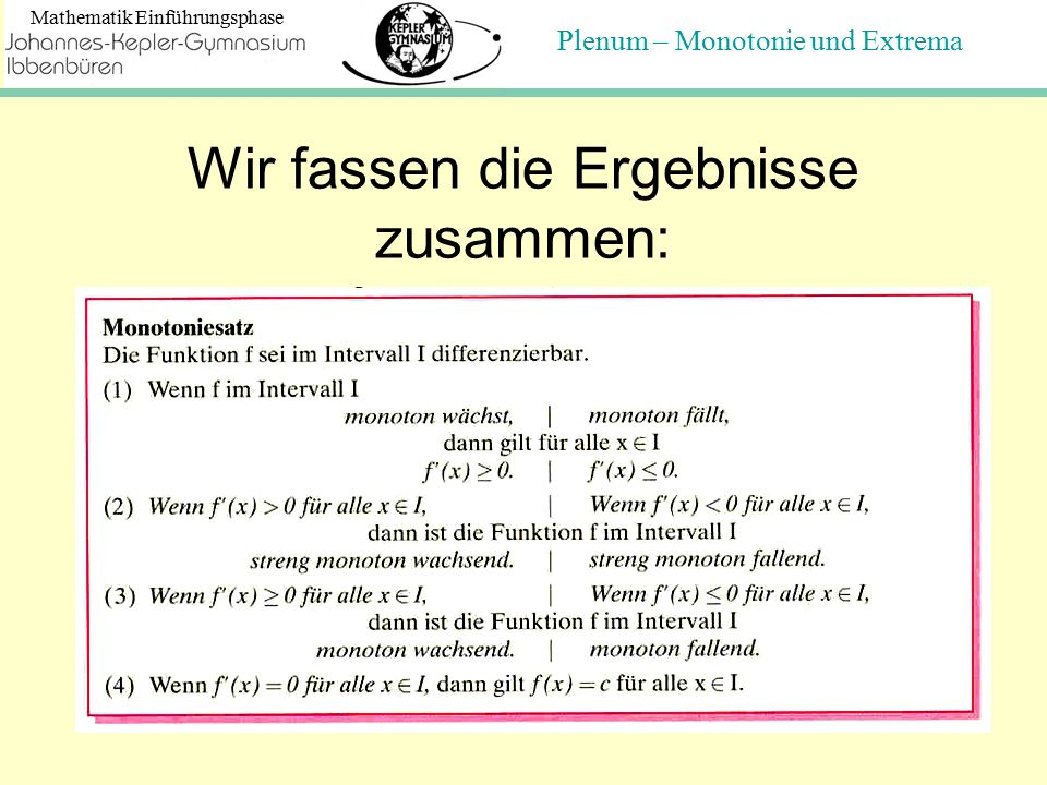 Plenum – Monotonie und Extrema Mathematik Einführungsphase Die drei Fragen: 1.Wie findet man Punkte, die als Hoch- bzw.