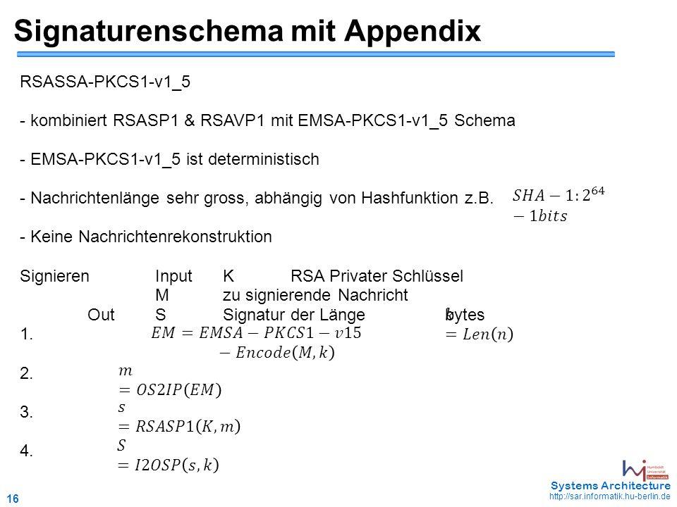 16 May 2006 - 16 Systems Architecture http://sar.informatik.hu-berlin.de Signaturenschema mit Appendix RSASSA-PKCS1-v1_5 - kombiniert RSASP1 & RSAVP1 mit EMSA-PKCS1-v1_5 Schema - EMSA-PKCS1-v1_5 ist deterministisch - Nachrichtenlänge sehr gross, abhängig von Hashfunktion z.B.