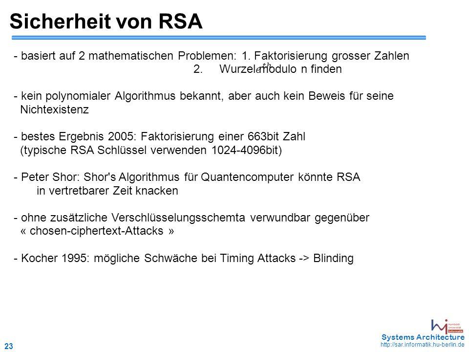 23 May 2006 - 23 Systems Architecture http://sar.informatik.hu-berlin.de Sicherheit von RSA - basiert auf 2 mathematischen Problemen: 1.