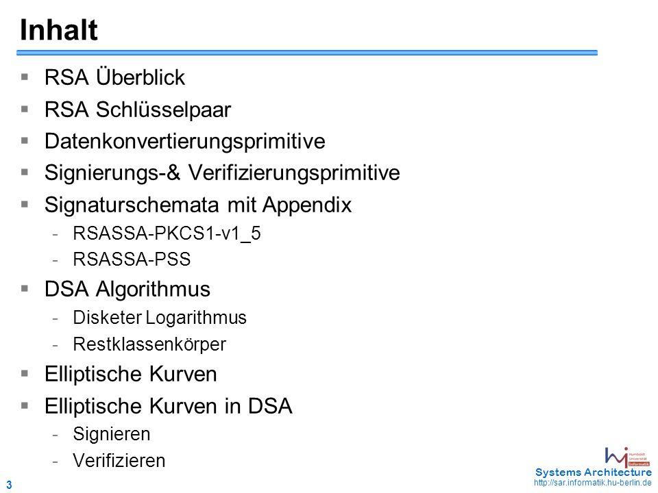 3 May 2006 - 3 Systems Architecture http://sar.informatik.hu-berlin.de Inhalt  RSA Überblick  RSA Schlüsselpaar  Datenkonvertierungsprimitive  Signierungs-& Verifizierungsprimitive  Signaturschemata mit Appendix - RSASSA-PKCS1-v1_5 - RSASSA-PSS  DSA Algorithmus - Disketer Logarithmus - Restklassenkörper  Elliptische Kurven  Elliptische Kurven in DSA - Signieren - Verifizieren