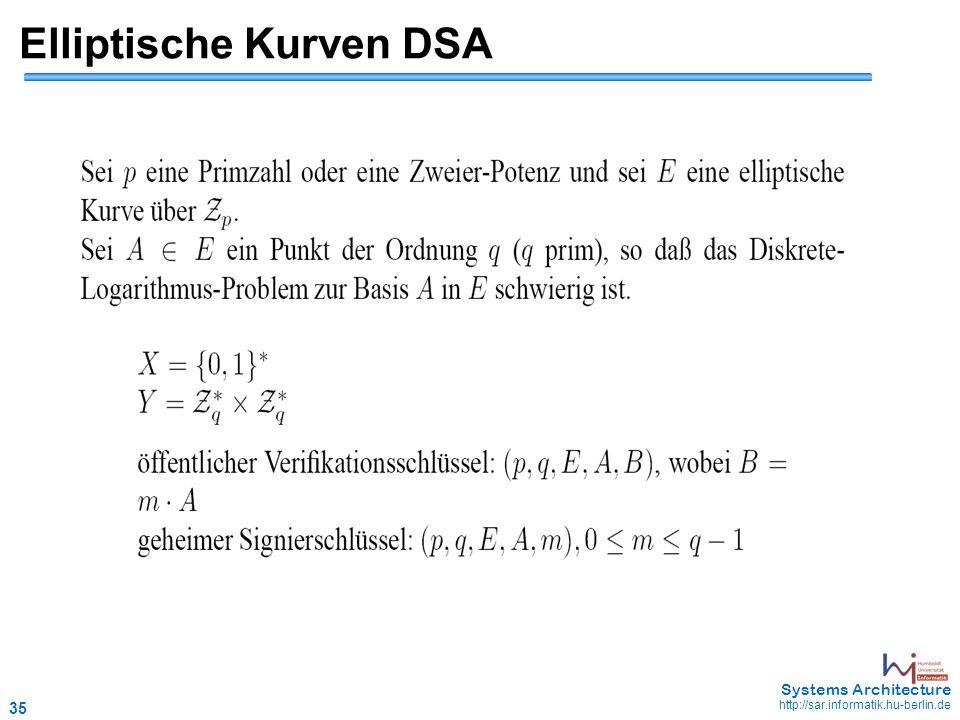 35 May 2006 - 35 Systems Architecture http://sar.informatik.hu-berlin.de Elliptische Kurven DSA