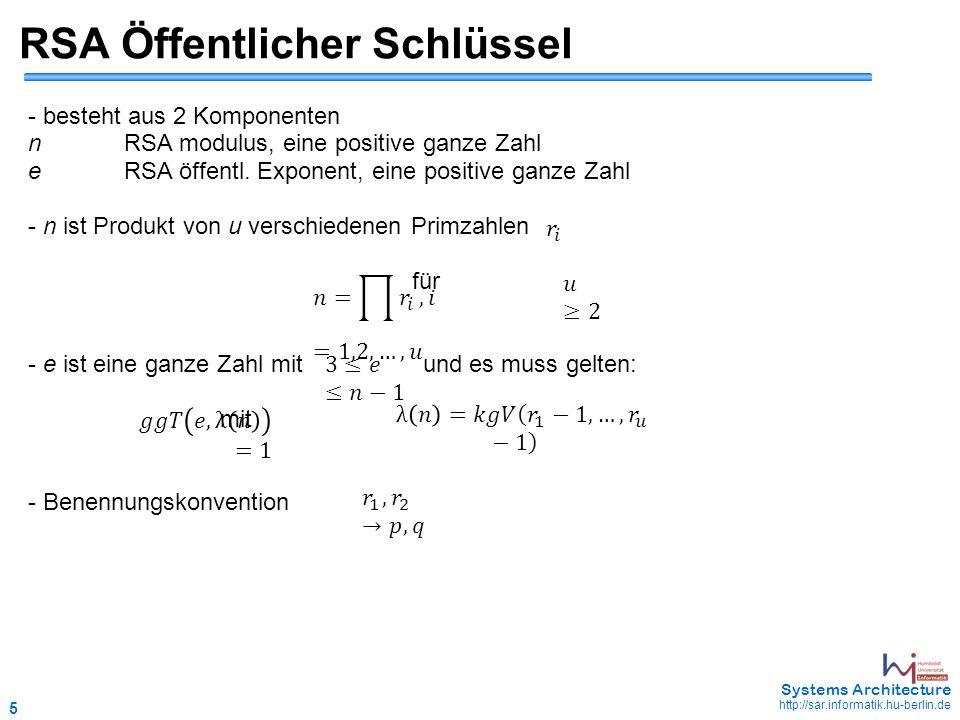 5 May 2006 - 5 Systems Architecture http://sar.informatik.hu-berlin.de RSA Öffentlicher Schlüssel - besteht aus 2 Komponenten nRSA modulus, eine positive ganze Zahl eRSA öffentl.