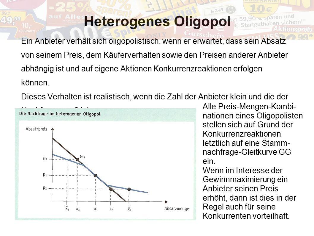 Heterogenes Oligopol Ein Anbieter verhält sich oligopolistisch, wenn er erwartet, dass sein Absatz von seinem Preis, dem Käuferverhalten sowie den Pre