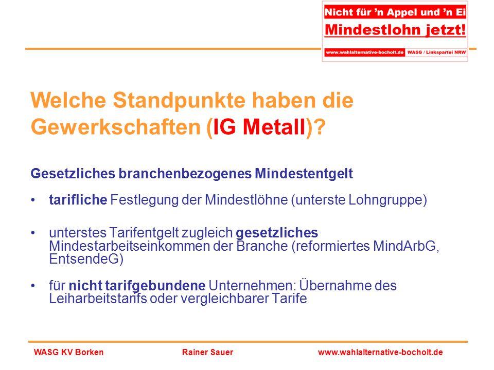 Rainer Sauerwww.wahlalternative-bocholt.deWASG KV Borken Gesetzliches branchenbezogenes Mindestentgelt tarifliche Festlegung der Mindestlöhne (unterst