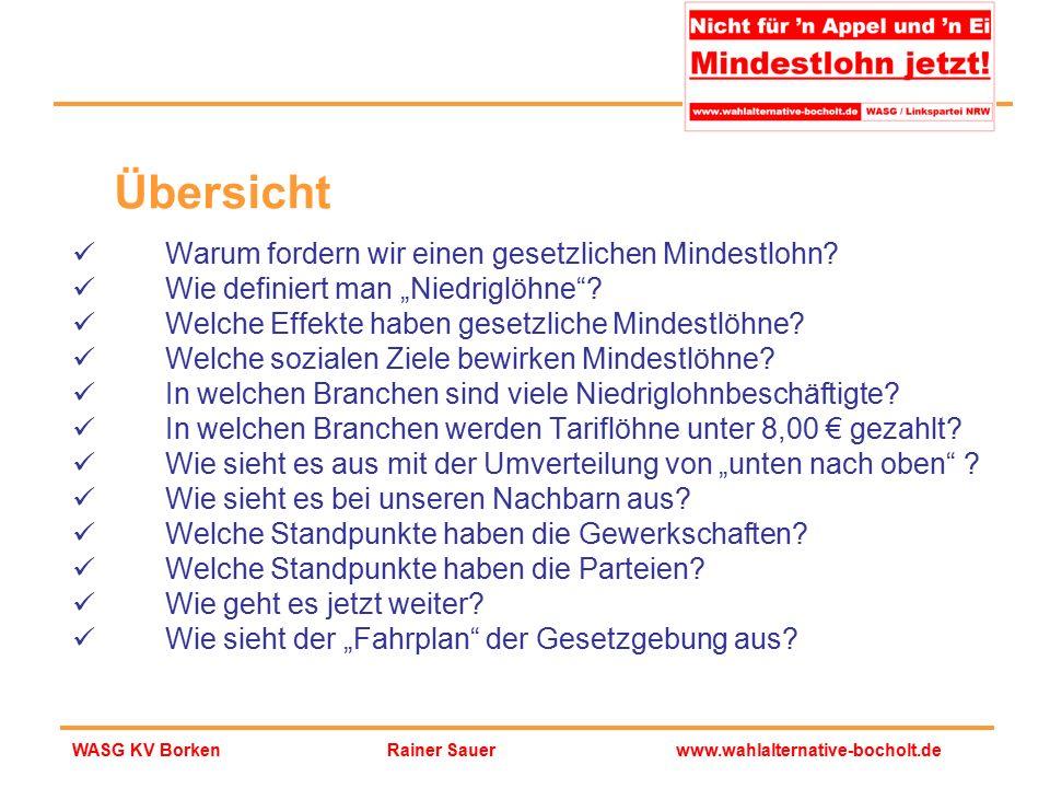 """Rainer Sauerwww.wahlalternative-bocholt.deWASG KV Borken Übersicht Warum fordern wir einen gesetzlichen Mindestlohn? Wie definiert man """"Niedriglöhne""""?"""