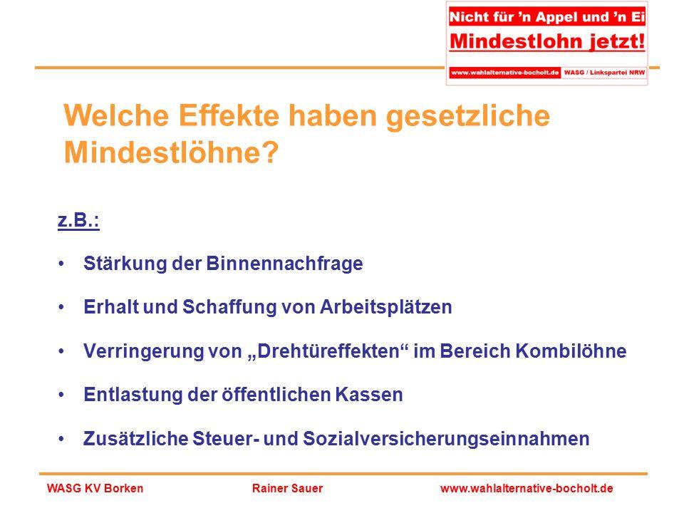 Rainer Sauerwww.wahlalternative-bocholt.deWASG KV Borken Welche Effekte haben gesetzliche Mindestlöhne? z.B.: Stärkung der Binnennachfrage Erhalt und