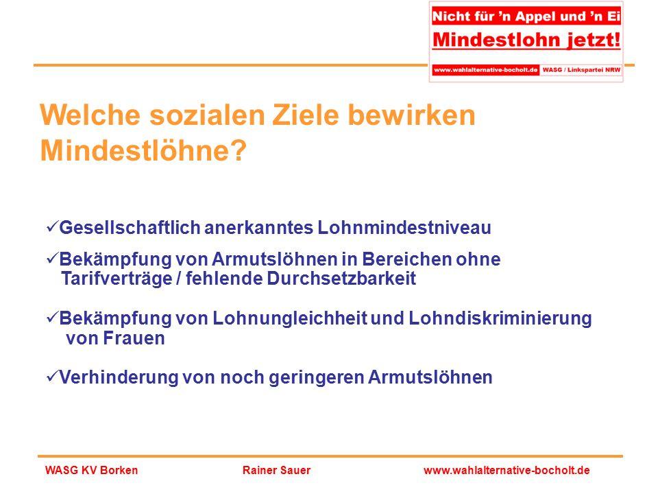 Rainer Sauerwww.wahlalternative-bocholt.deWASG KV Borken Gesellschaftlich anerkanntes Lohnmindestniveau Bekämpfung von Armutslöhnen in Bereichen ohne