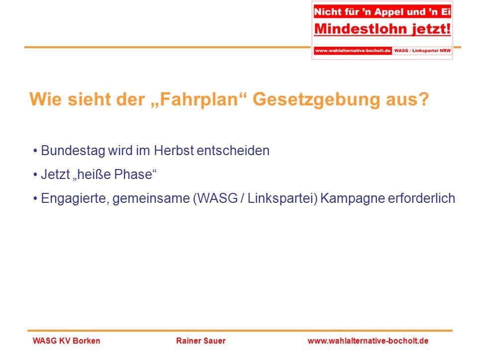 """Rainer Sauerwww.wahlalternative-bocholt.deWASG KV Borken Wie sieht der """"Fahrplan"""" Gesetzgebung aus? Bundestag wird im Herbst entscheiden Jetzt """"heiße"""