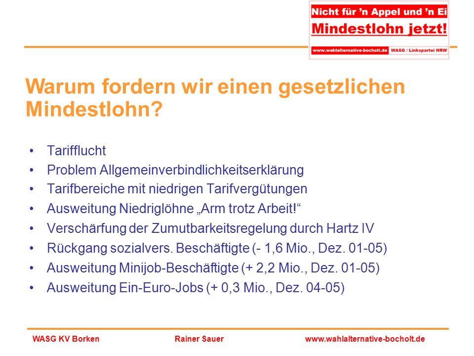 Rainer Sauerwww.wahlalternative-bocholt.deWASG KV Borken Tarifflucht Problem Allgemeinverbindlichkeitserklärung Tarifbereiche mit niedrigen Tarifvergü
