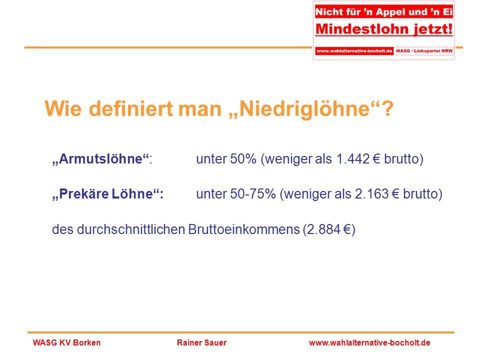 """Rainer Sauerwww.wahlalternative-bocholt.deWASG KV Borken """"Armutslöhne"""":unter 50% (weniger als 1.442 € brutto) """"Prekäre Löhne"""": unter 50-75% (weniger a"""