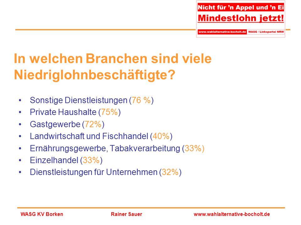 Rainer Sauerwww.wahlalternative-bocholt.deWASG KV Borken Sonstige Dienstleistungen (76 %) Private Haushalte (75%) Gastgewerbe (72%) Landwirtschaft und