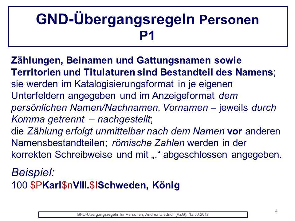GND-Übergangsregeln für Personen, Andrea Diedrich (VZG), 13.03.2012 GND-Übergangsregeln Personen Herzlichen Dank für Ihre Aufmerksamkeit.