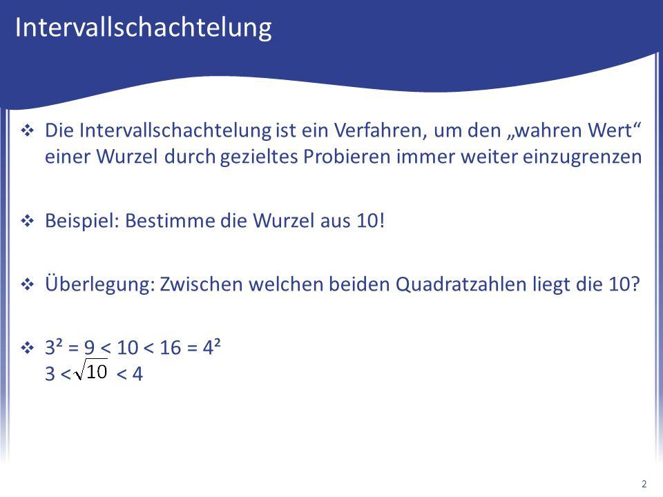 Wurzel aus 10 bestimmen (Strict)  Überlegung: Zwischen welchen beiden Quadratzahlen liegt die 10.