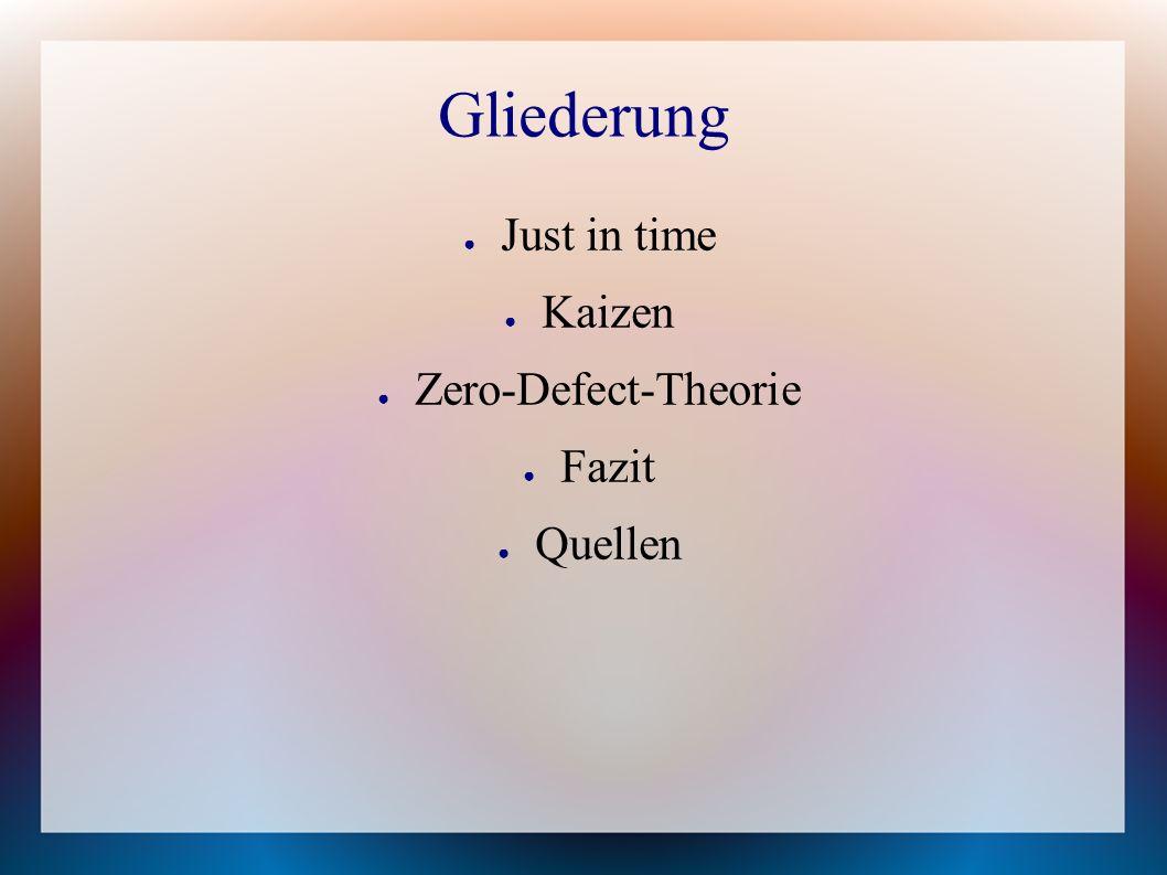 Gliederung ● Just in time ● Kaizen ● Zero-Defect-Theorie ● Fazit ● Quellen