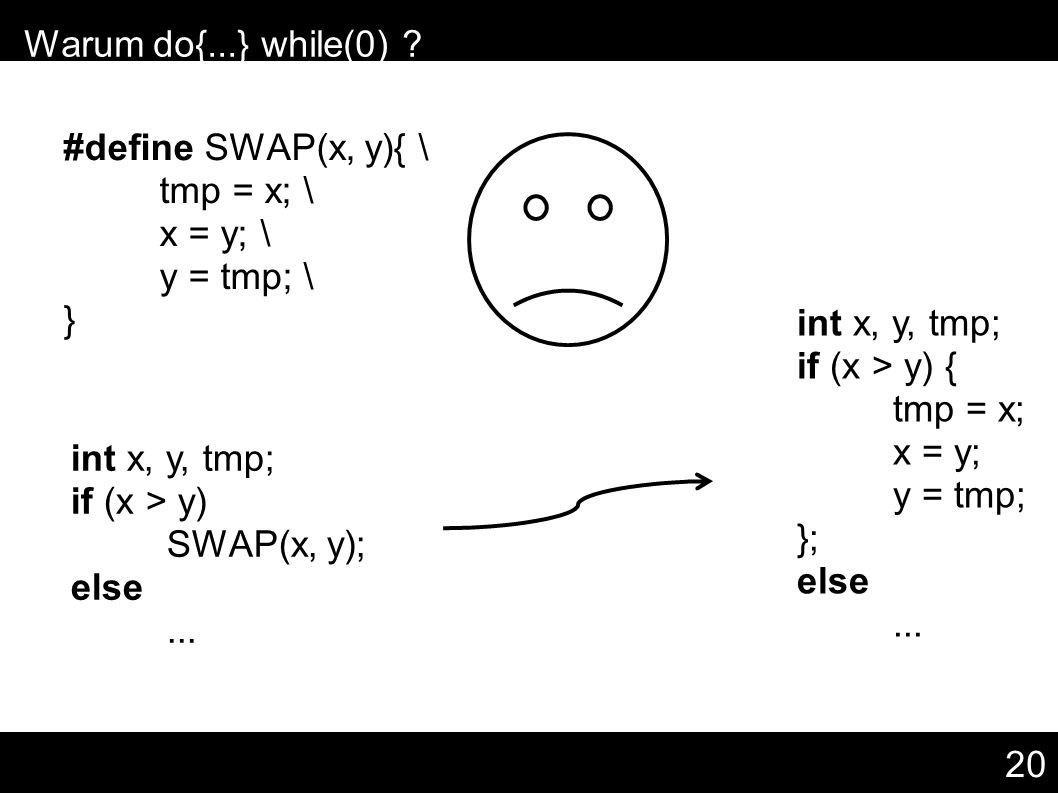 20 – Warum do{...} while(0) ? #define SWAP(x, y){ \ tmp = x; \ x = y; \ y = tmp; \ } int x, y, tmp; if (x > y) SWAP(x, y); else... int x, y, tmp; if (