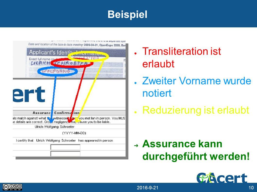 10 21.09.2016 Beispiel ● Transliteration ist erlaubt ● Zweiter Vorname wurde notiert ● Reduzierung ist erlaubt ➔ Assurance kann durchgeführt werden!