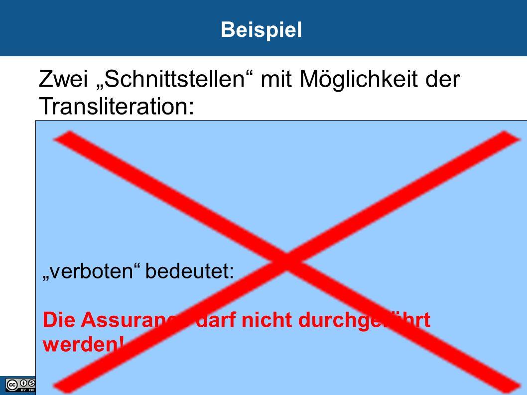 """13 21.09.2016 Beispiel Zwei """"Schnittstellen mit Möglichkeit der Transliteration: """"verboten bedeutet: Die Assurance darf nicht durchgeführt werden!"""