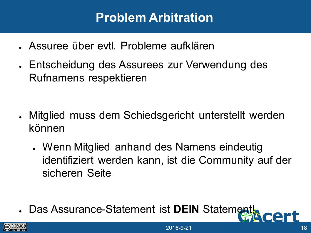 18 21.09.2016 Problem Arbitration ● Assuree über evtl.