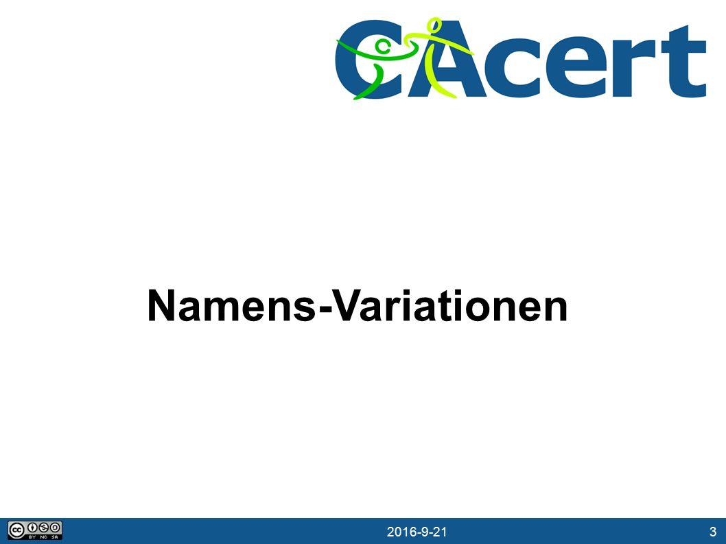 3 21.09.2016 Namens-Variationen