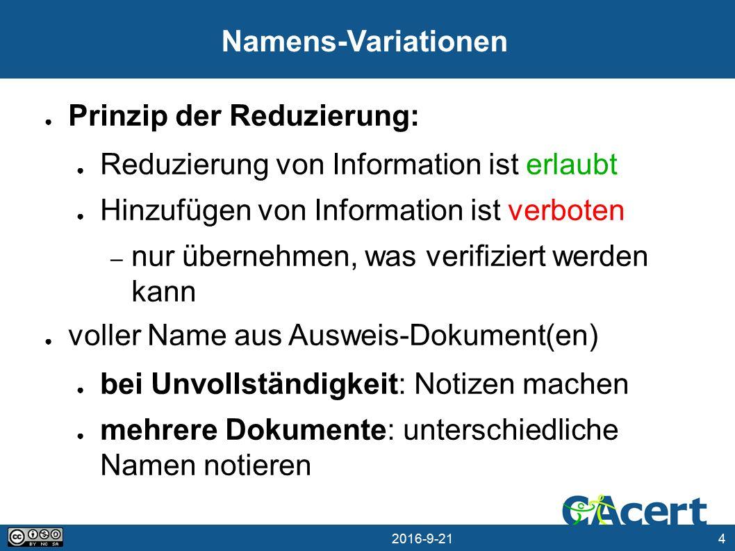 15 21.09.2016 Länder-Varianten ● Assurance Policy Abs.