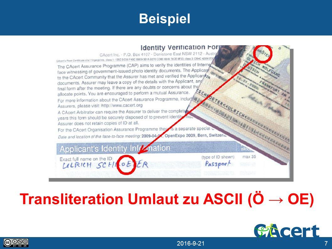 7 21.09.2016 Beispiel Transliteration Umlaut zu ASCII (Ö → OE)