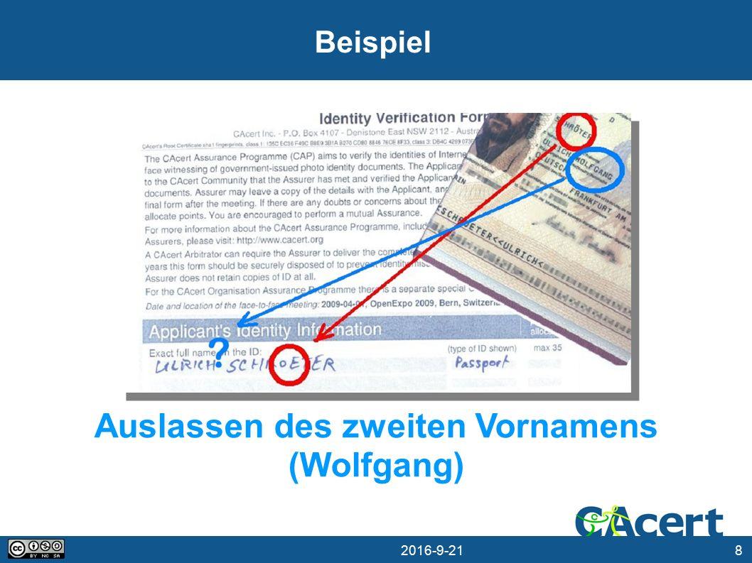 8 21.09.2016 Beispiel Auslassen des zweiten Vornamens (Wolfgang)