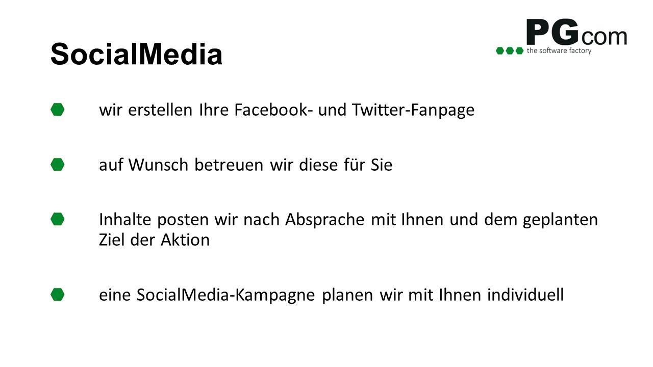 SocialMedia wir erstellen Ihre Facebook- und Twitter-Fanpage auf Wunsch betreuen wir diese für Sie Inhalte posten wir nach Absprache mit Ihnen und dem geplanten Ziel der Aktion eine SocialMedia-Kampagne planen wir mit Ihnen individuell