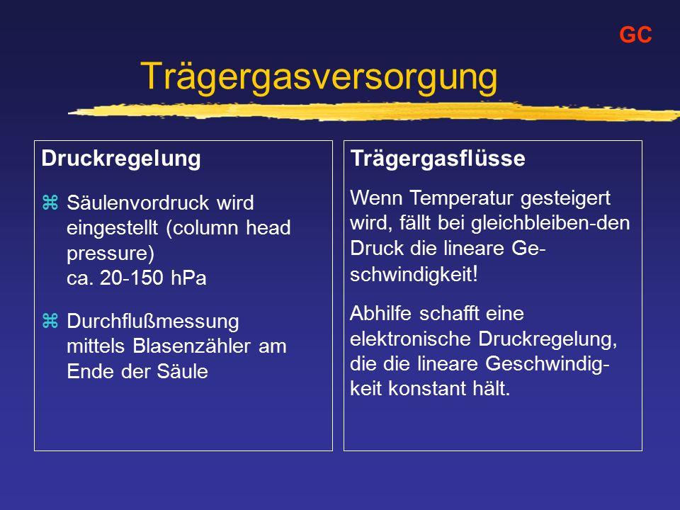 Trägergasversorgung Druckregelung zSäulenvordruck wird eingestellt (column head pressure) ca.