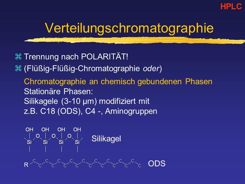 Verteilungschromatographie zTrennung nach POLARITÄT! z(Flüßig-Flüßig-Chromatographie oder) Chromatographie an chemisch gebundenen Phasen Stationäre Ph
