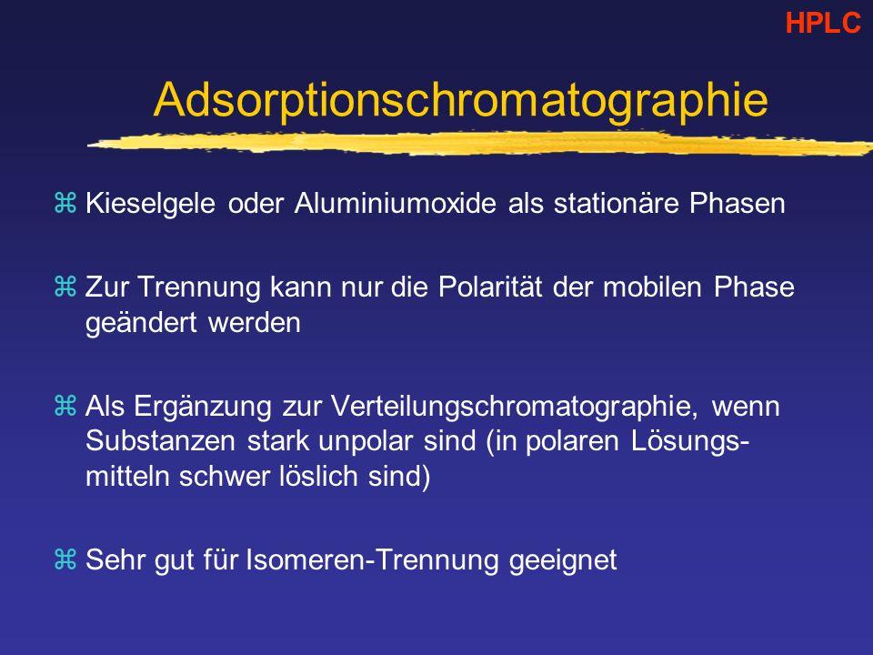 Adsorptionschromatographie zKieselgele oder Aluminiumoxide als stationäre Phasen zZur Trennung kann nur die Polarität der mobilen Phase geändert werden zAls Ergänzung zur Verteilungschromatographie, wenn Substanzen stark unpolar sind (in polaren Lösungs- mitteln schwer löslich sind) zSehr gut für Isomeren-Trennung geeignet HPLC