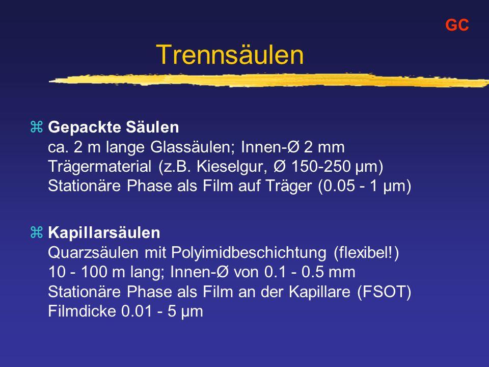 Trennsäulen zGepackte Säulen ca. 2 m lange Glassäulen; Innen-Ø 2 mm Trägermaterial (z.B. Kieselgur, Ø 150-250 µm) Stationäre Phase als Film auf Träger