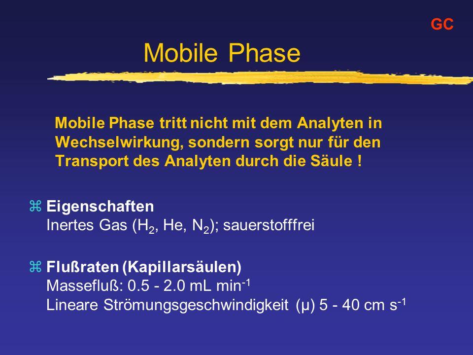 Mobile Phase Mobile Phase tritt nicht mit dem Analyten in Wechselwirkung, sondern sorgt nur für den Transport des Analyten durch die Säule ! zEigensch