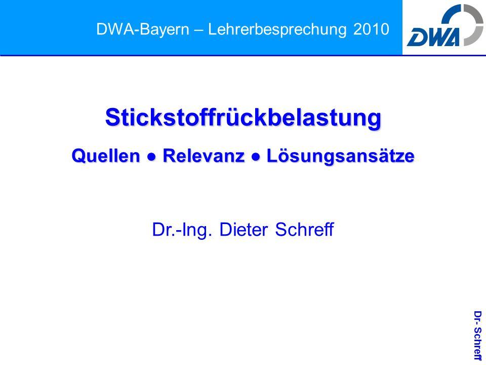 Dr- Schreff DWA-Bayern – Lehrerbesprechung 2010 Stickstoffrückbelastung Quellen ● Relevanz ● Lösungsansätze Dr.-Ing.