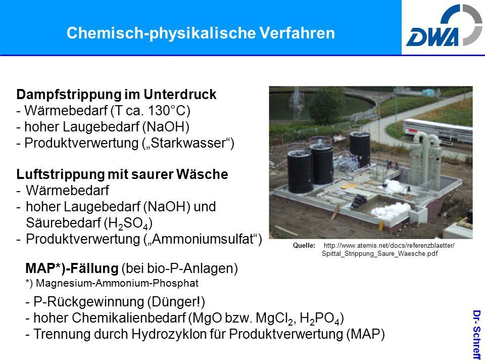 Dr- Schreff Chemisch-physikalische Verfahren Dampfstrippung im Unterdruck - Wärmebedarf (T ca.