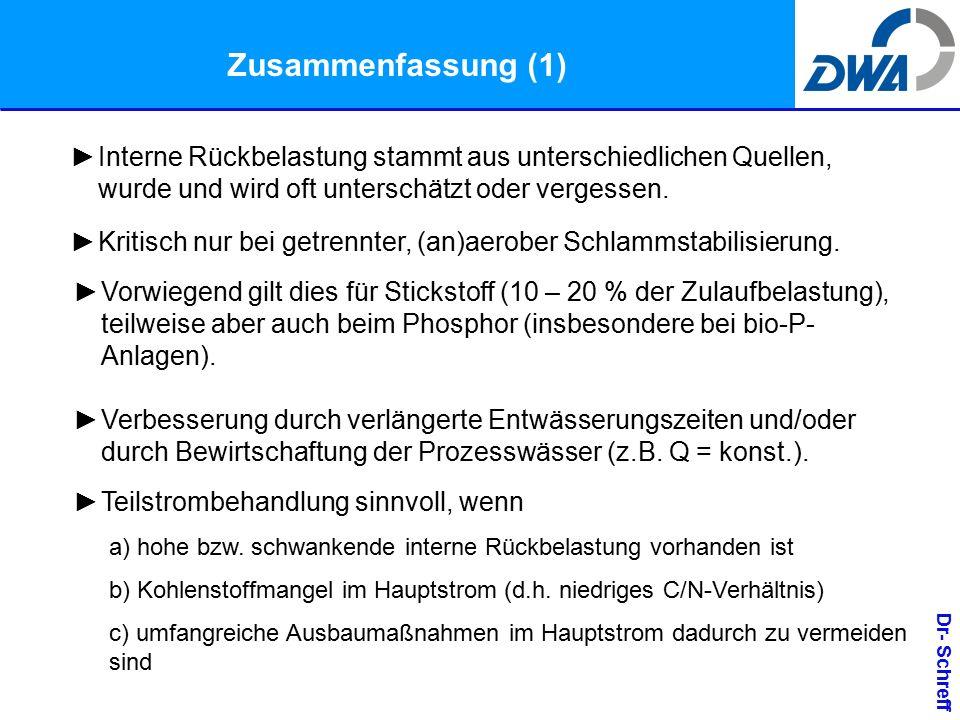 Dr- Schreff Zusammenfassung (1) ►Interne Rückbelastung stammt aus unterschiedlichen Quellen, wurde und wird oft unterschätzt oder vergessen.